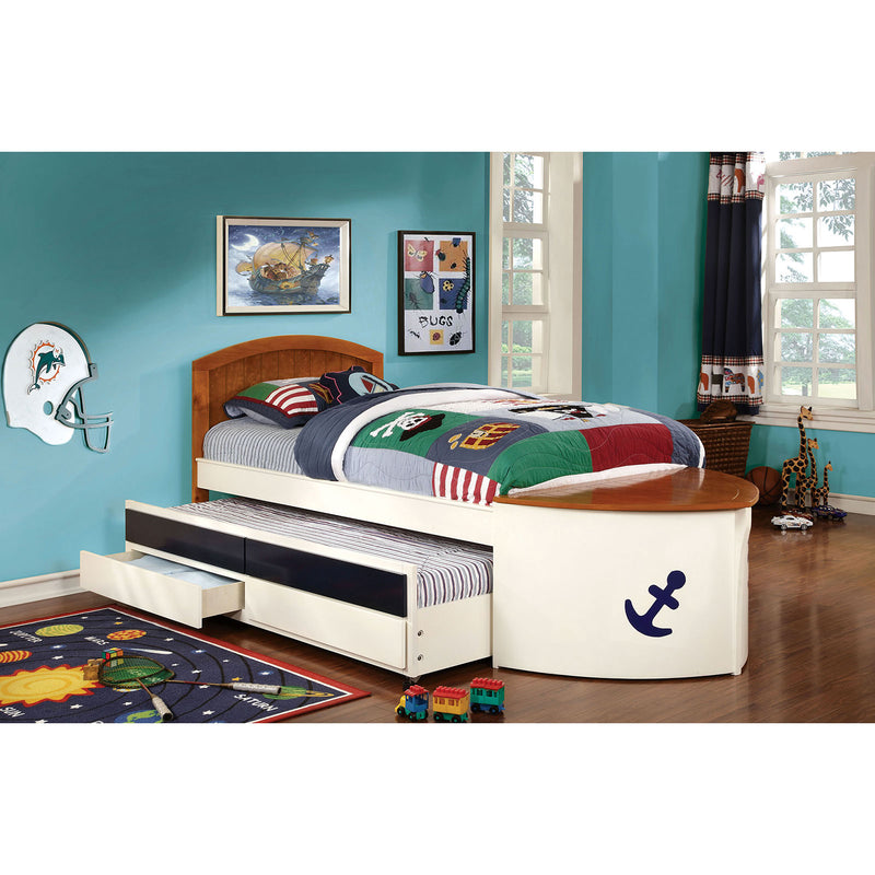 Voyager White/Oak/Navy Blue Twin Bed w/ Trundle + Drawers