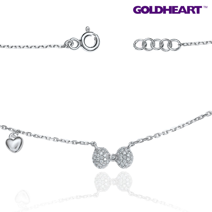 Felicity Ribbon Diamond Necklace | Goldheart 9K White Gold + Palladium (B0999)