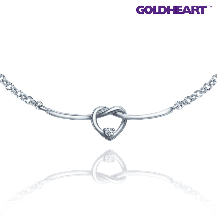 Love Knot Diamond Necklace | Goldheart White Gold 750 (18K) (B1051)