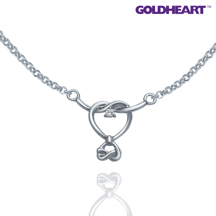 Love Knot Diamond Necklace | Goldheart White Gold 750 (18K) (B1052)