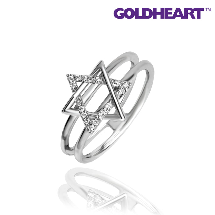 GOLDHEART ESPOIR 9K White Gold + Palladium Diamond Ring (R4577)