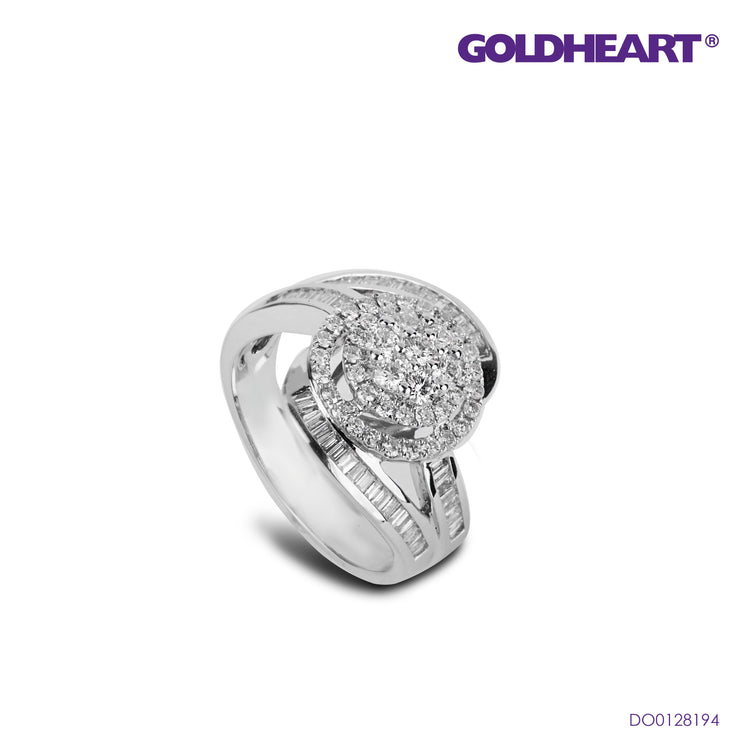Spirality with Illuminating Sparkles Diamond Ring | Goldheart White Gold 750 (18K) (R1020)