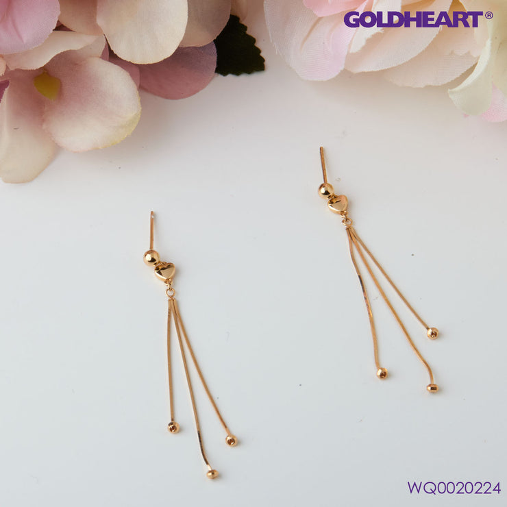 Dual Hearts Drop Earrings | Goldheart Rose Gold 750 (18K)