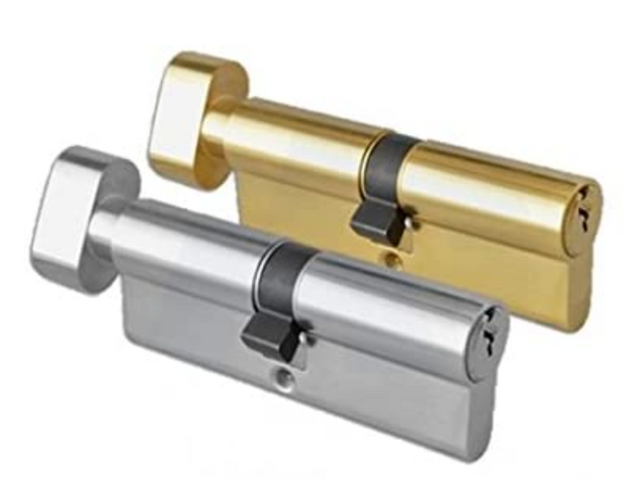 Thumb-Turn Euro Cylinder Door Lock Barrel - Brass, 50/50