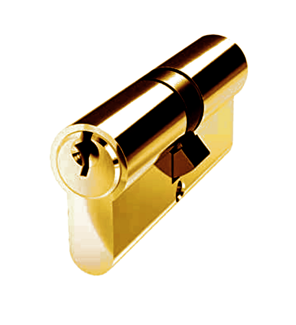 Kenrick 6 pin Double Cylinder, Brass Finish, 100mm (50/50)