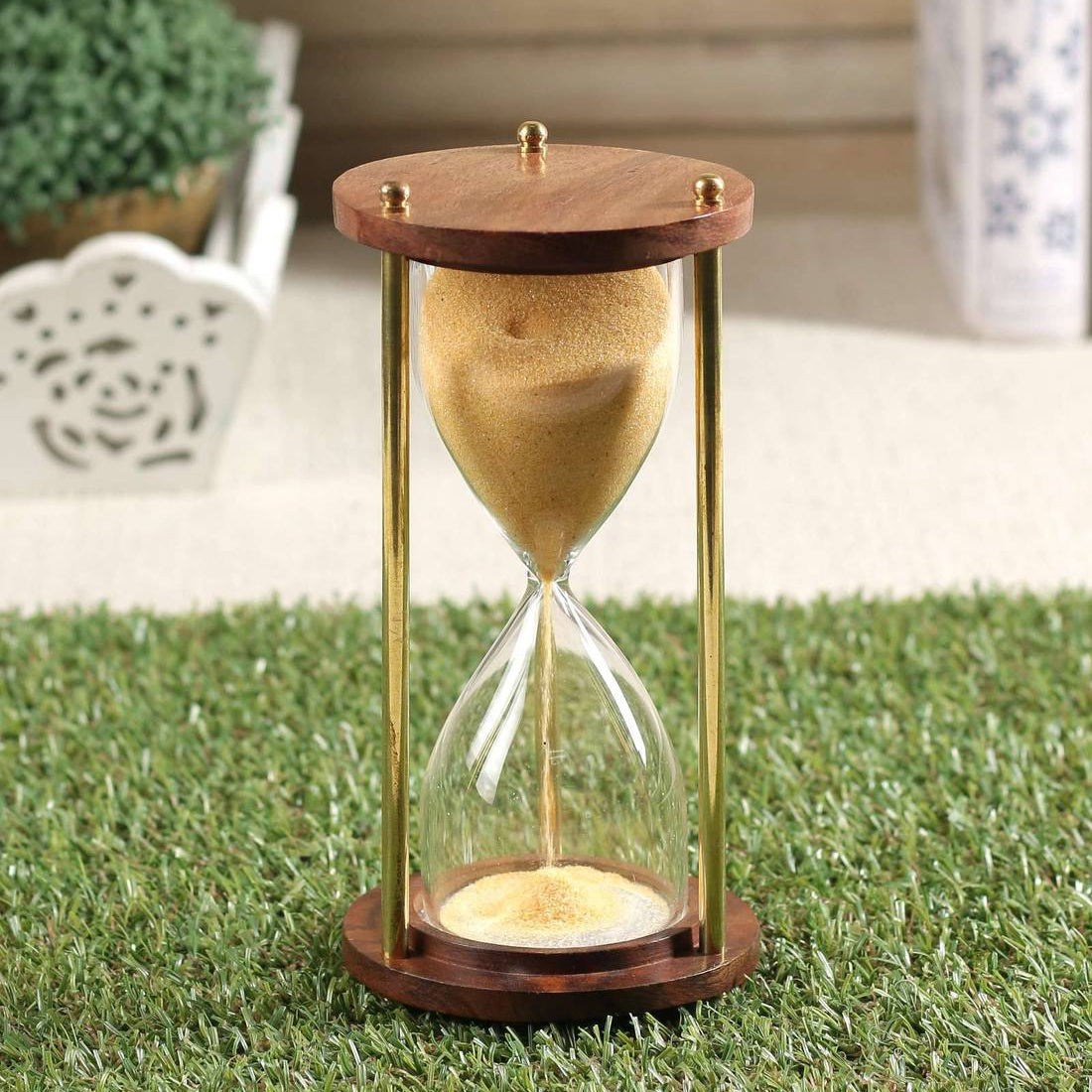 Antique Wooden Sand Timer 1 Minute ( Yellow, Brass, Wood )