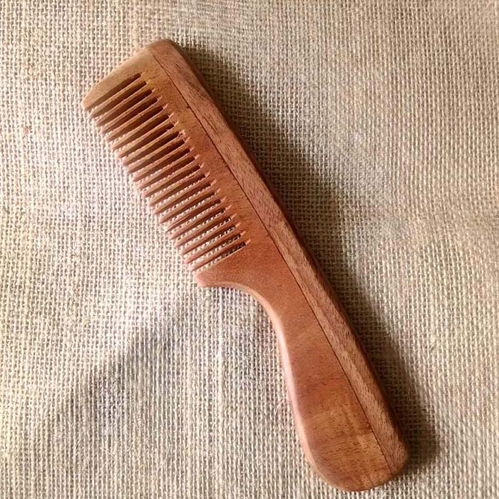 Neem Wood Medium Bristle Comb Handle [ Handmade | Eco-Friendly ]