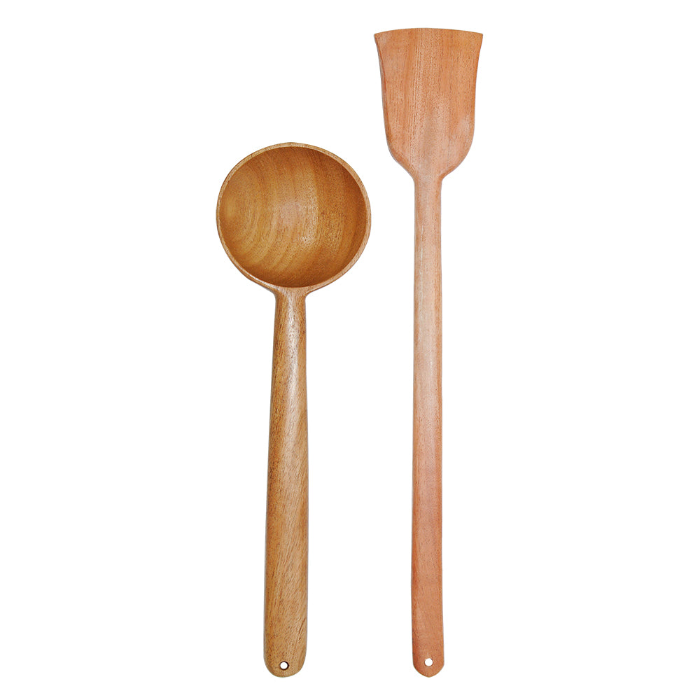 Neem Wood Spatula – Deep Spoon For Serving [ Handmade|100% Natural (Set Of 2) Kitchen Tool Set ]