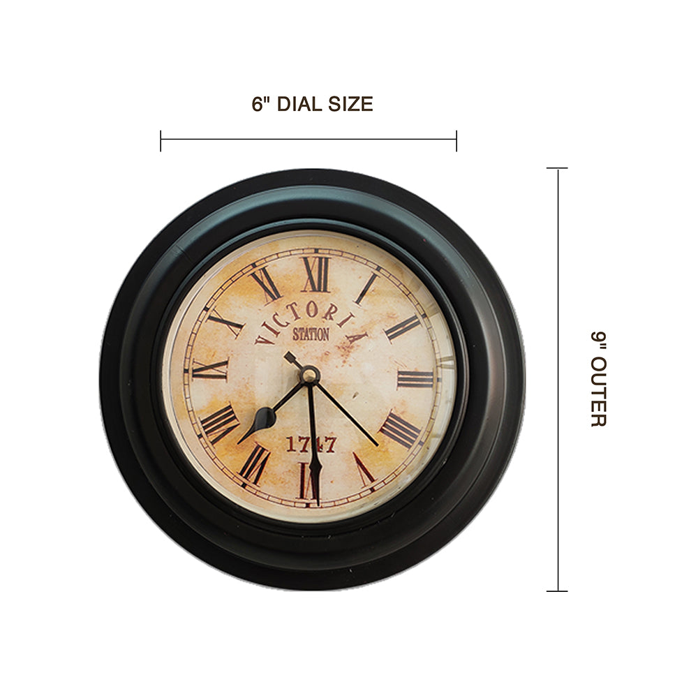 Metal Body Victoria Station Wall Clock Black