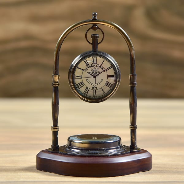 Antique Finish Table Clock Brass Victoria London with Compass on Wood Base