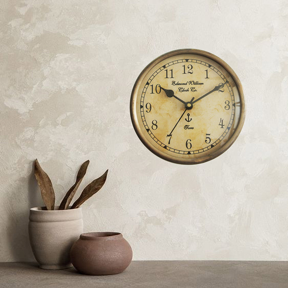 Metal Wall Clock Brass Antique Finish 6 inch