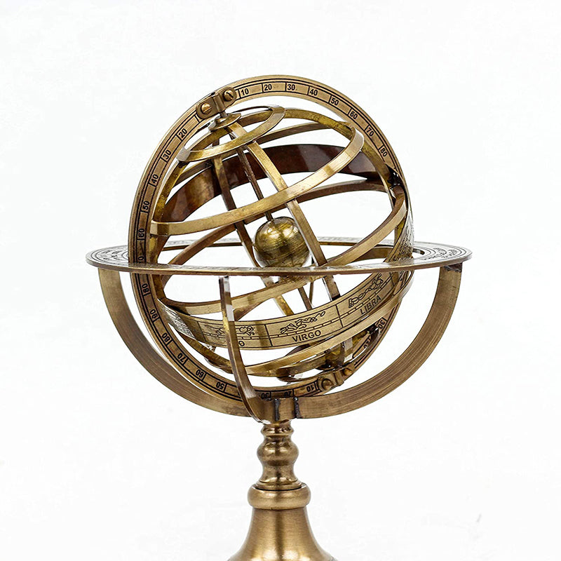 Antique Vintage Zodiac Armillary Brass Sphere Wooden Display Pirate's Ship Decor Globe (Large)