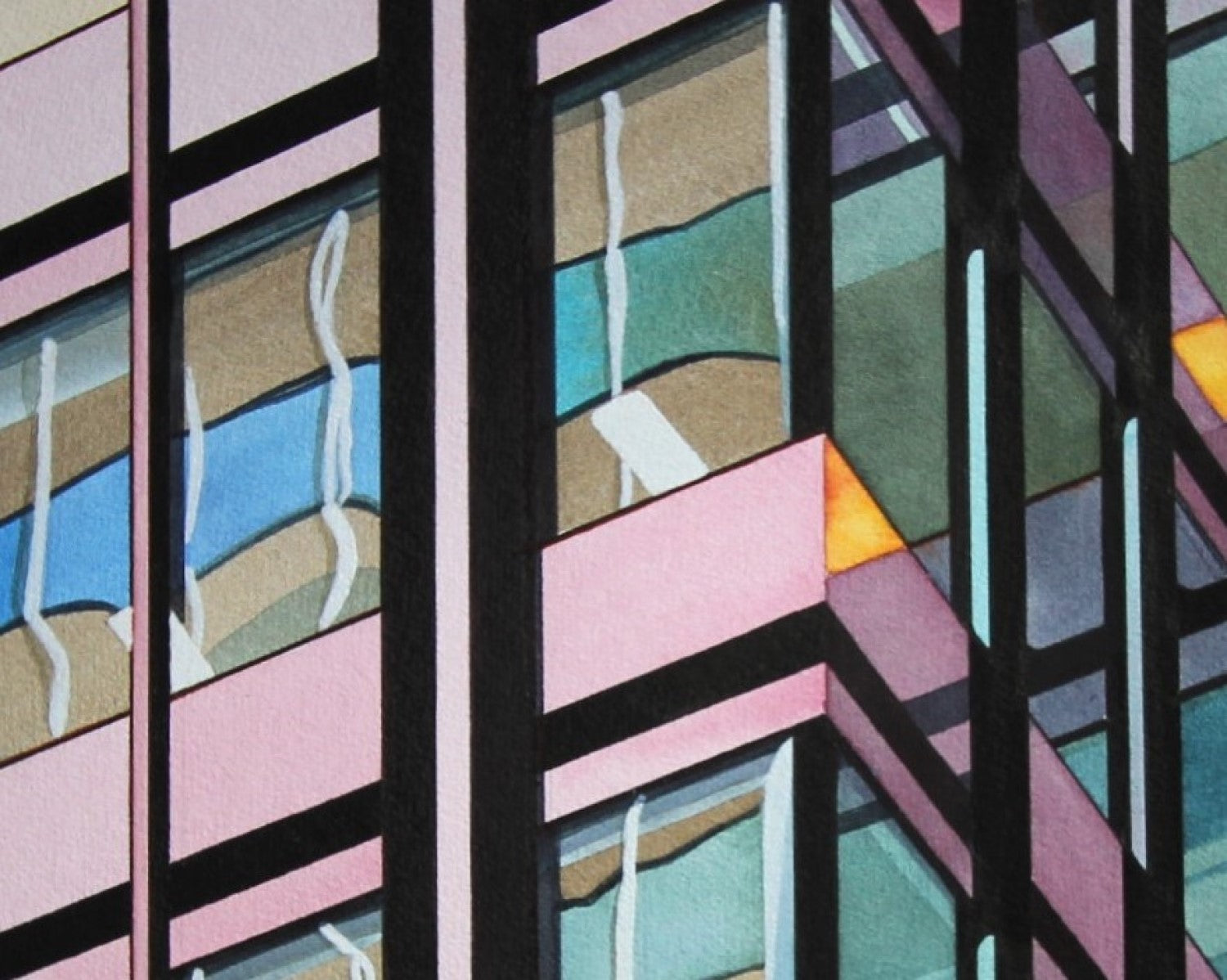 Painting of tower on King West in Toronto