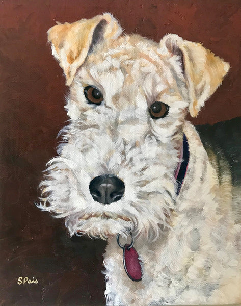 Oil painting of a Wire Haired Fox Terrier dog