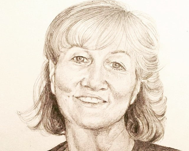 Pencil drawing portrait of a woman