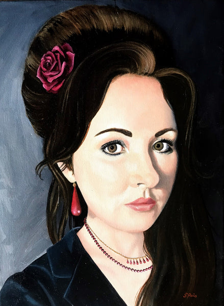 Portrait of an artist with a rose in her hair