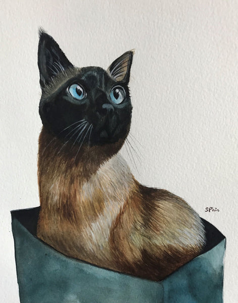 Painting of a Siamese cat in a paper bag