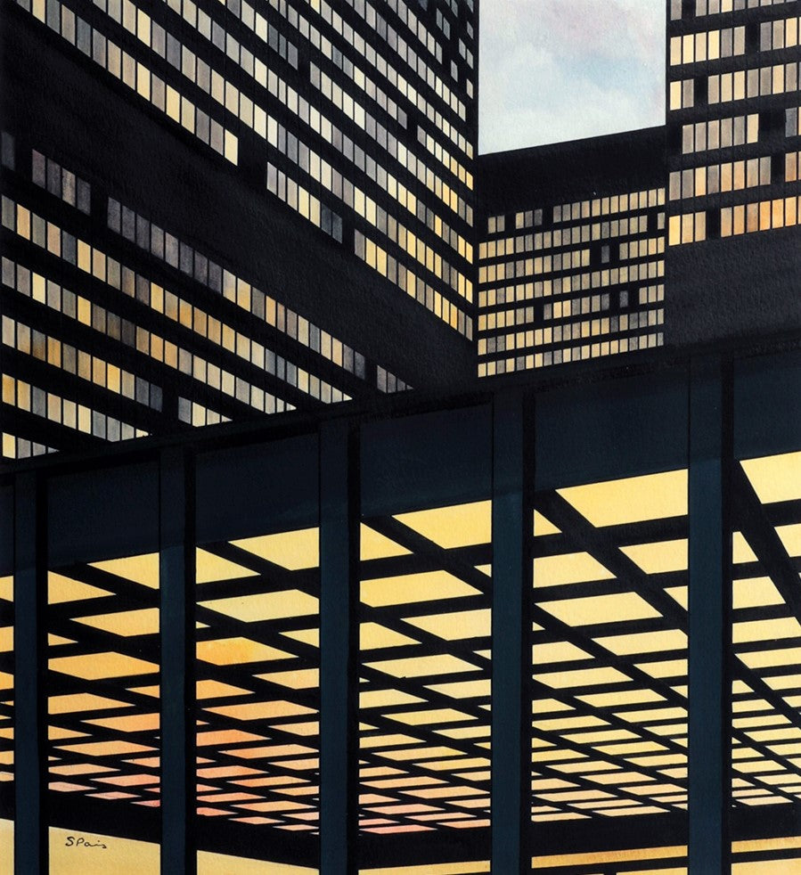 Painting of Mies van der Rohe's TD Towers in Toronto