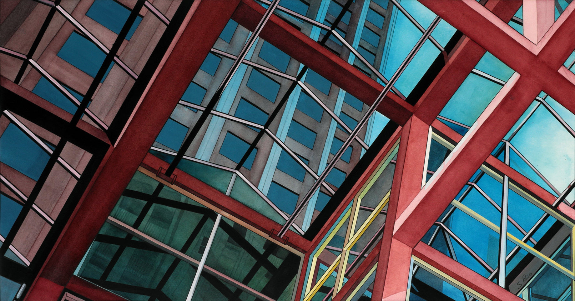 Painting of the ScotiaPlaza building on King West in Toronto