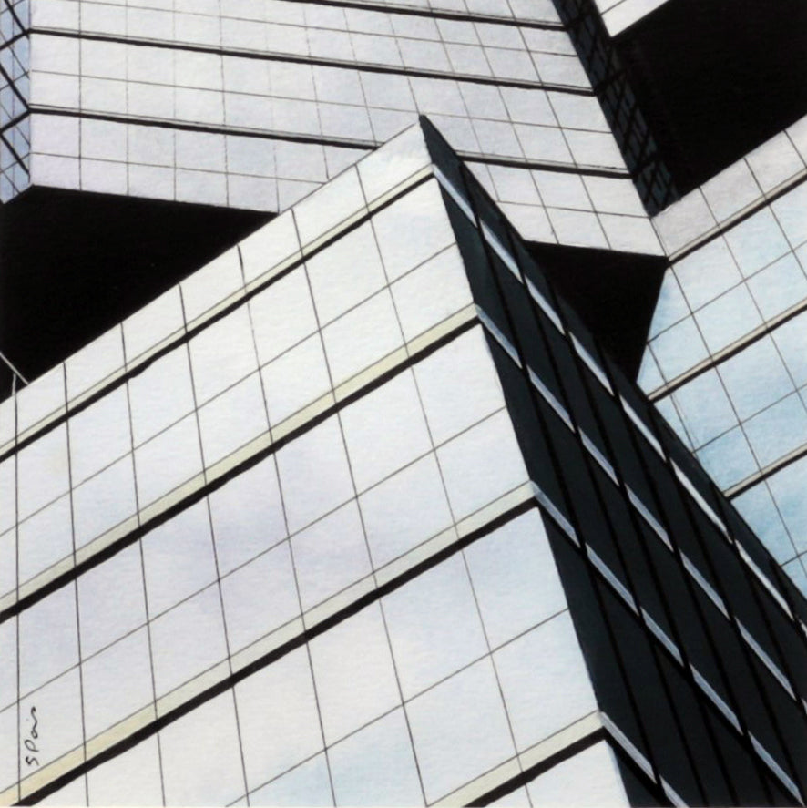Painting of clouds reflected in the windows of the Sunlife Centre in Toronto