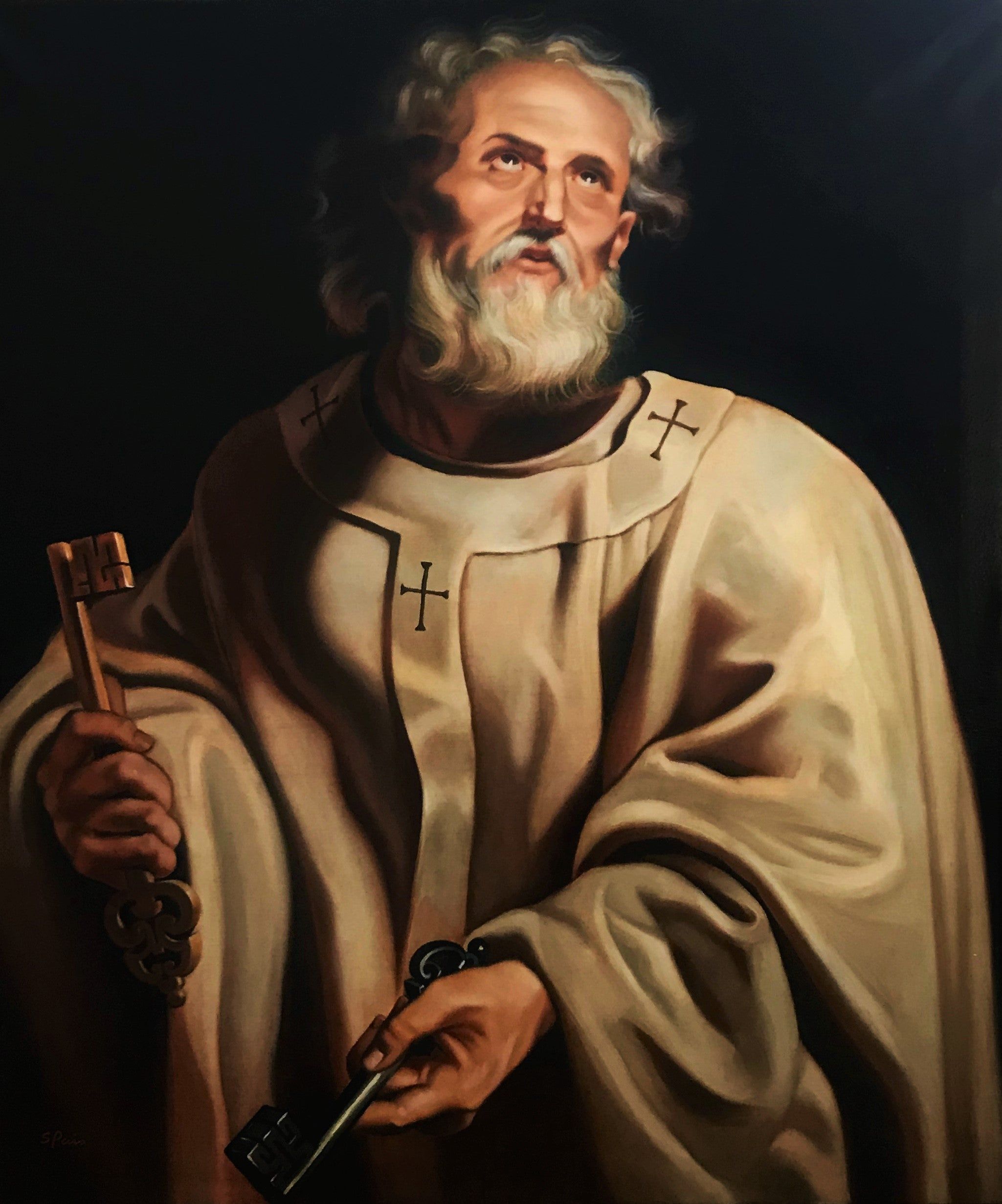 Oil painting of saint peter, after Peter Paul Rubens