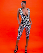 Load image into Gallery viewer, Deep-V Ankara Jumpsuit