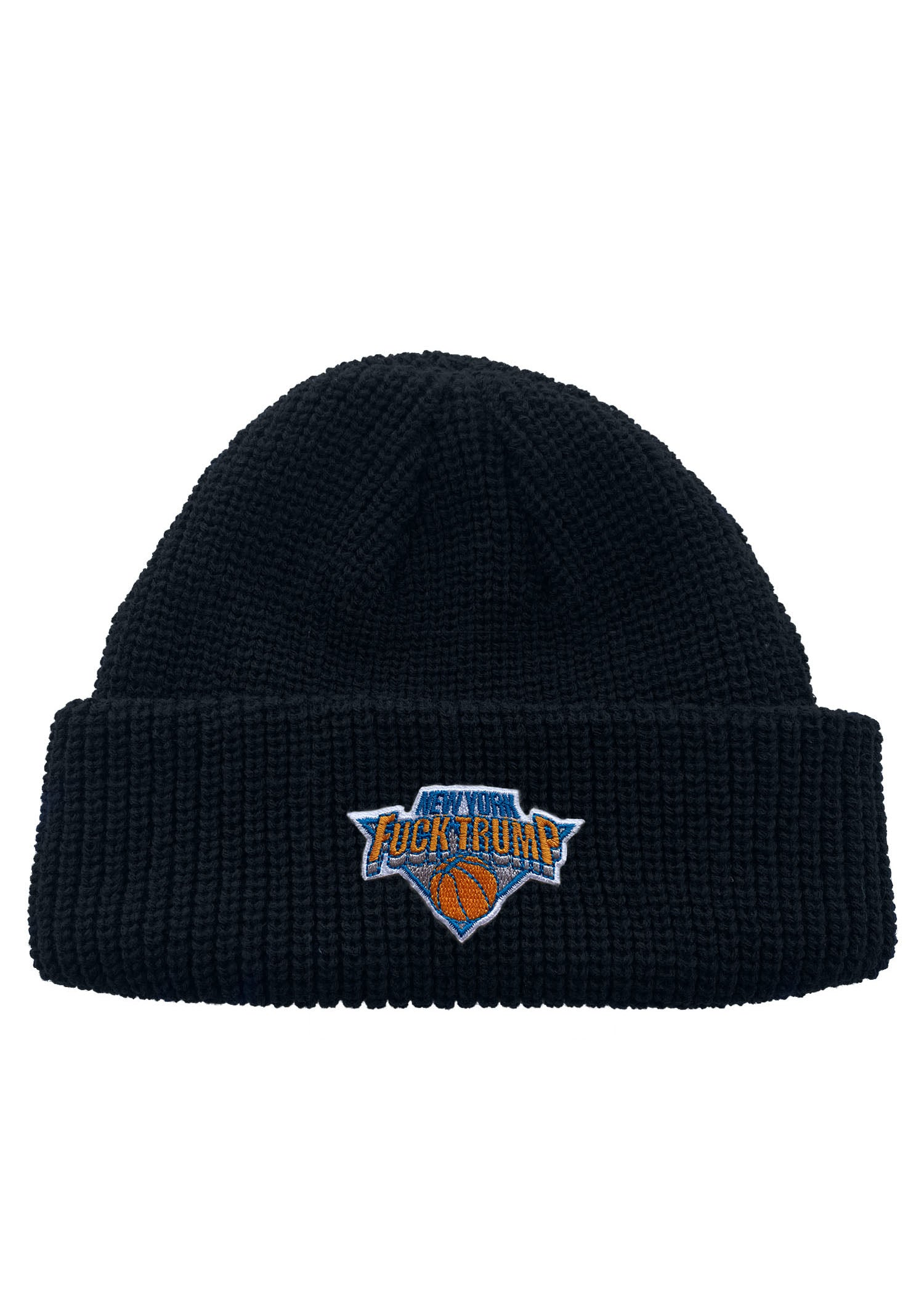 Fuck Trump NY Hoops Patch Neon Color Fisherman Knit Beanie
