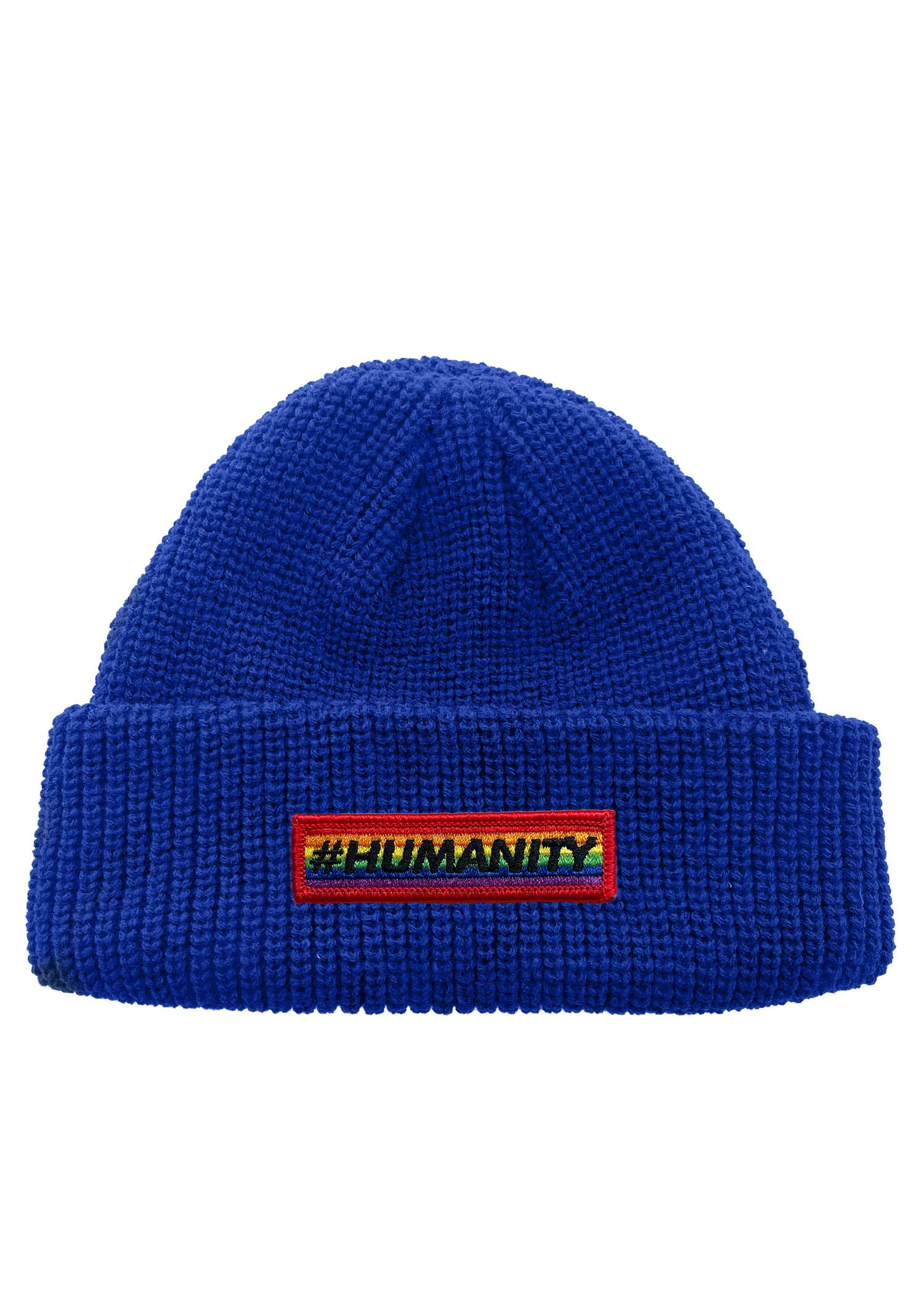 Humantiy Pride Bar Patch Neon Color Rollup Fisherman Knit Beanie