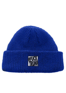 Oversized Fuck Trump Patch Classic Rollup Knit Beanie