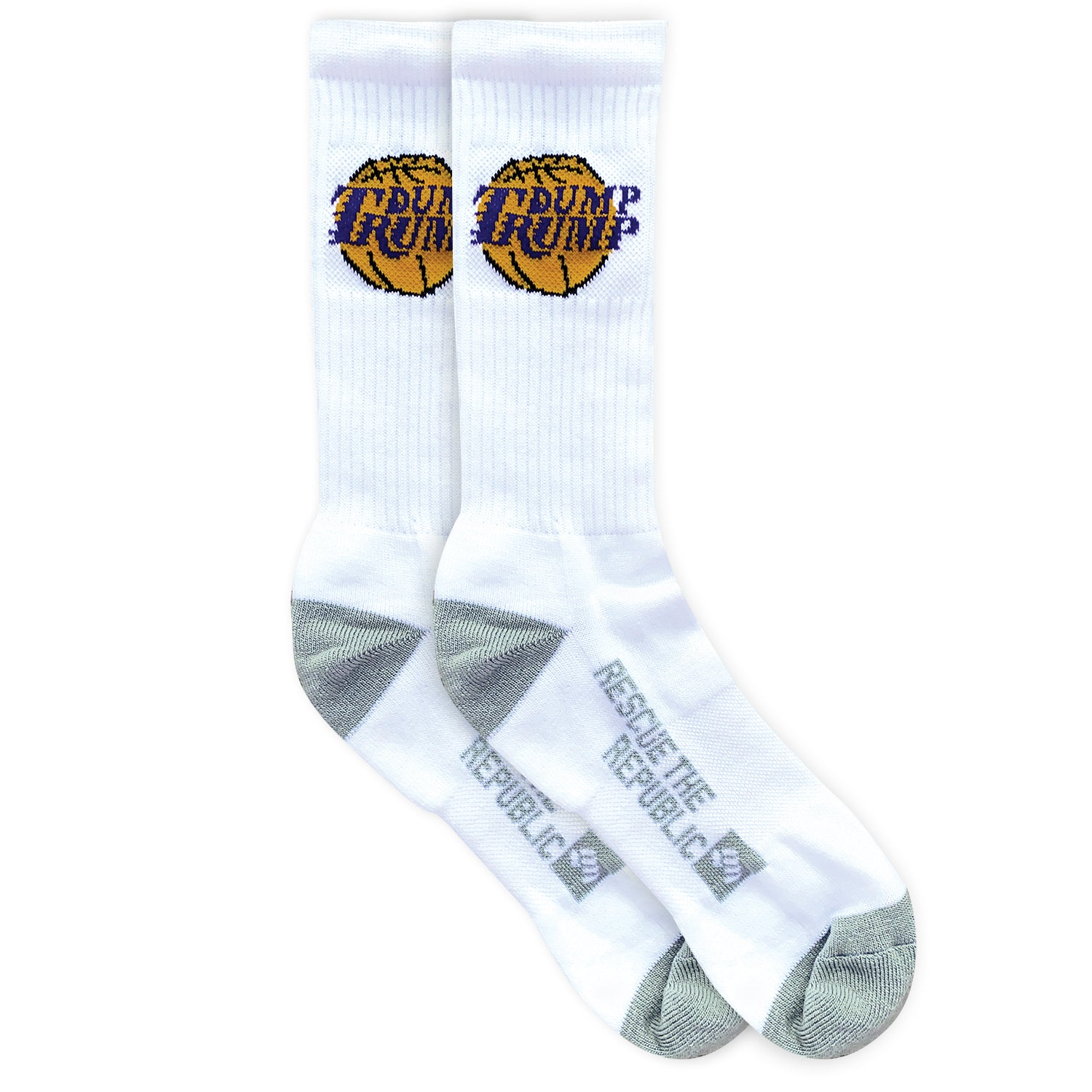 Dump Trump LA Hoops White Crew Socks