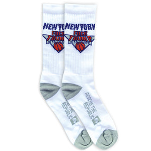 F**k Trump NY Hoops White Crew Socks