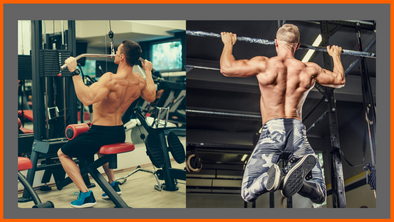 Muscular men doing Lat Pulldown VS Pull Up Gym vs calisthenics