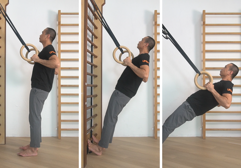 Ring row progressions showing the different angle of upright, incline and ground row on gymnastic rings