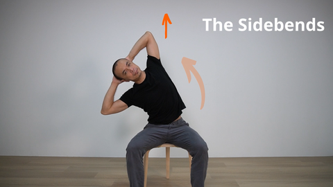 pilates teacher demonstrating side bending of the spine while seated