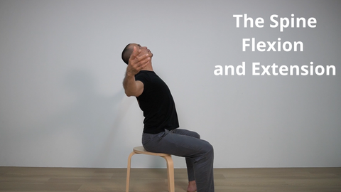 pilates instructor demonstrating arching or extension of the spine while seated