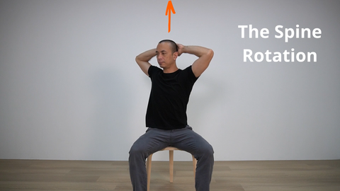 Pilates teacher demonstrating a seated spine rotation for home exercises