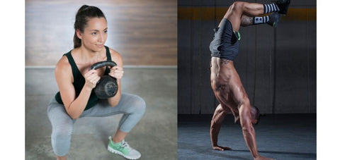 lady doing squat and a man doing handstand