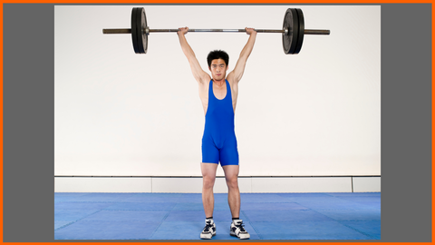 Chinese Weightlifter Lifting a Barbell overhead in Clean and Press