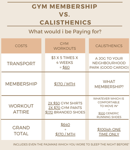 Gym vs Calisthenics, the Costs of Starting side by side comparison