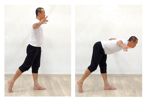 2 photo sequence of 1 leg hip hinge or 1 leg good morning exercise