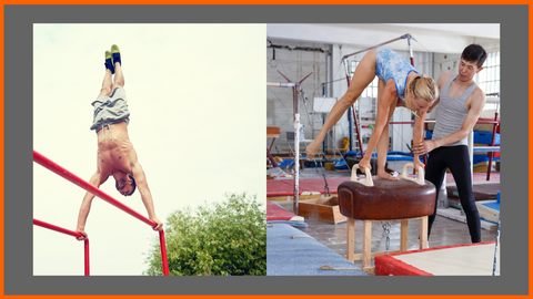 left image is of a man doing handstand on outdoor parallel dip bars and on the right is a young girl on a pommel horse learning gymnastics from a coach with other gymnastics equipment in the background