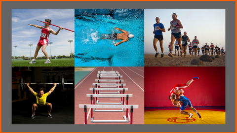 Olympic Sports Including Javelin toss, Swimming, Running, Weightlifting, Hurdles and Wrestling