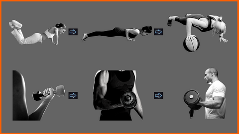 Push Up Progressions vs Bicep Curl Progressions, Calisthenics vs Gym Progressions, Kneeling push ups, standard push ups and offset pushups, bicep curls with different weights