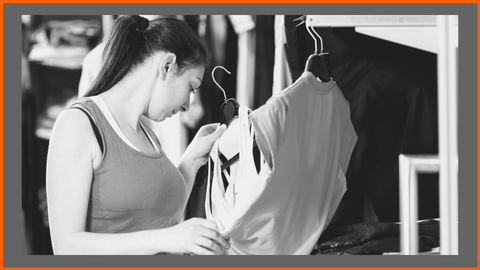 Woman shopping for sportswear to look good in gym