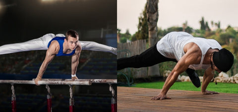 demonstrating the difference between a planche exercise in gymnastic training and calisthenics approach