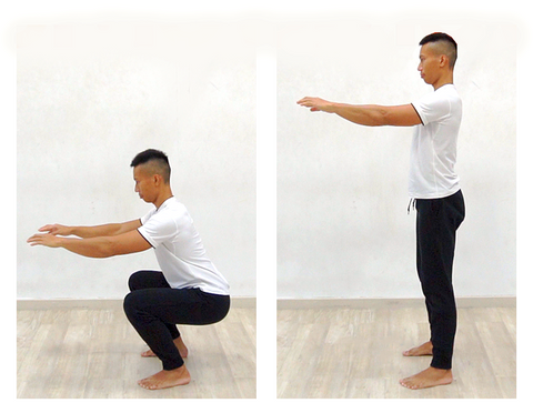 2 photo sequence of bodyweight squat exercise