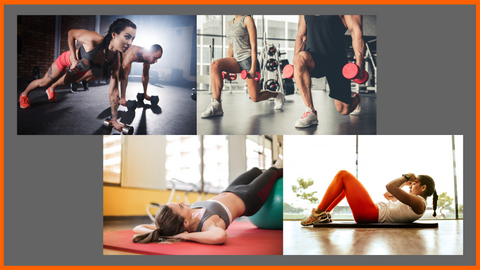 corssfit and bootcamp style workout compilation in the gym, dumbbell push ups, dumbbell split squats, back bridge on a yoga ball and sit ups on yoga mat
