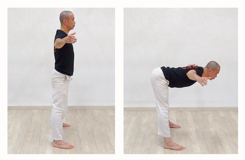 2 photo sequence of hip hinge exercise to stretch hamstrings