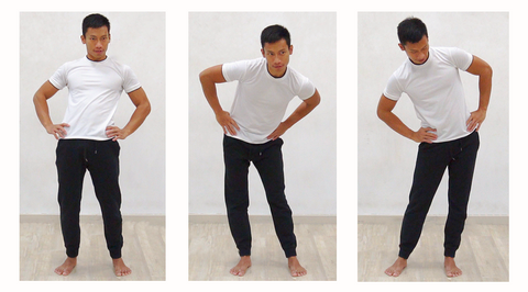 3 photo sequence of standing hip circles exercise