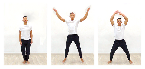 3 photo sequence of jumping jack exercise